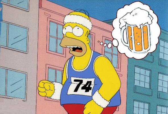 Homer Simpson, personagem da série animada Os Simpsons pensando se o álcool e esporte, combinam?