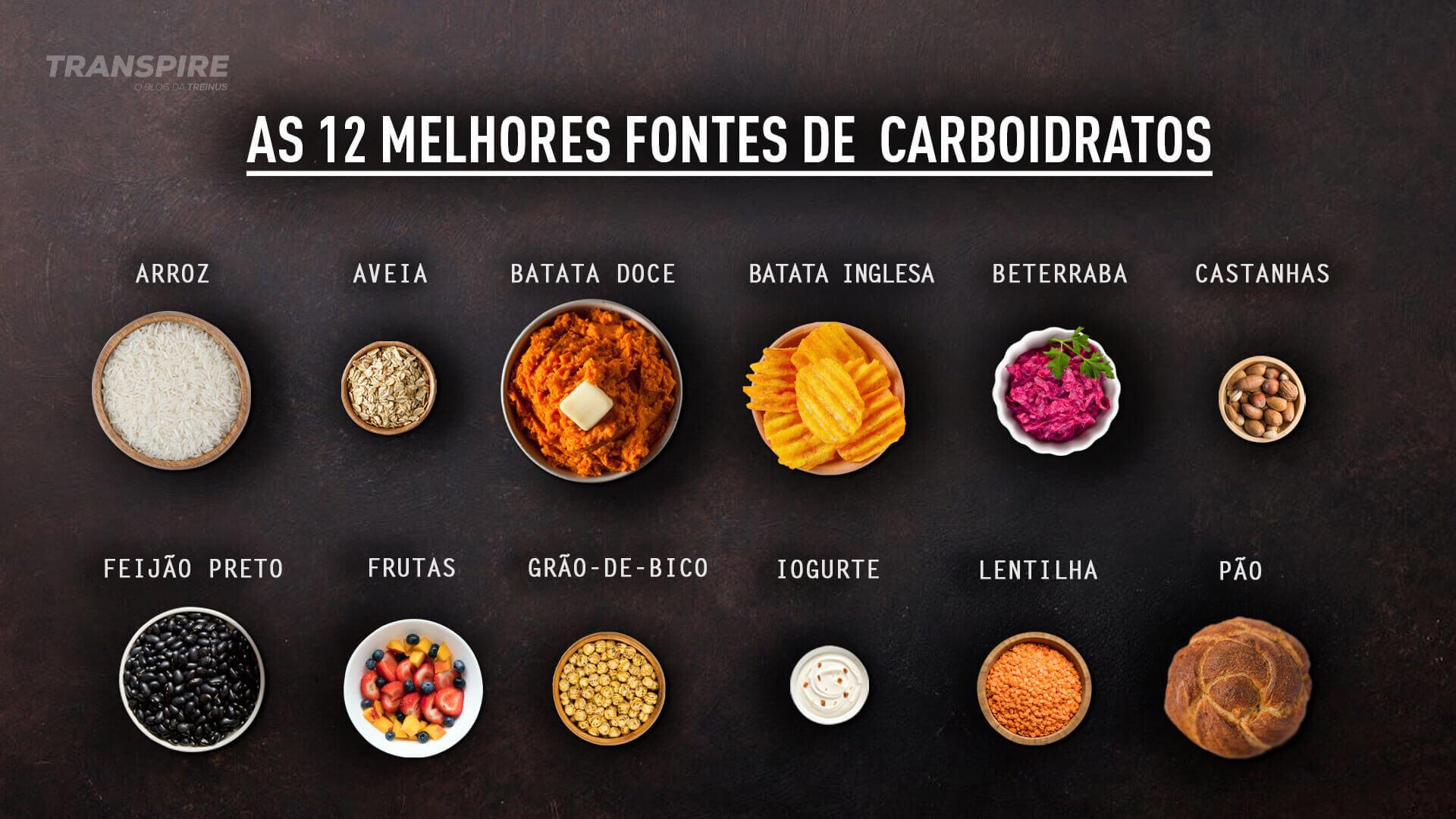 infográfico com as 12 melhores fontes de carboidratos
