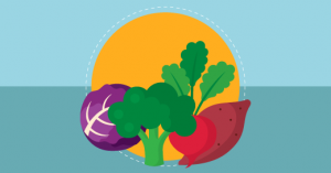 representação de alimentos que compõem uma alimentação saudável