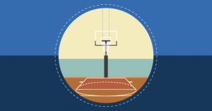 Quadra de basquete exemplificando os esportes em quadra.