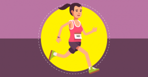 Desenho de uma mulher animada para comecar a correr