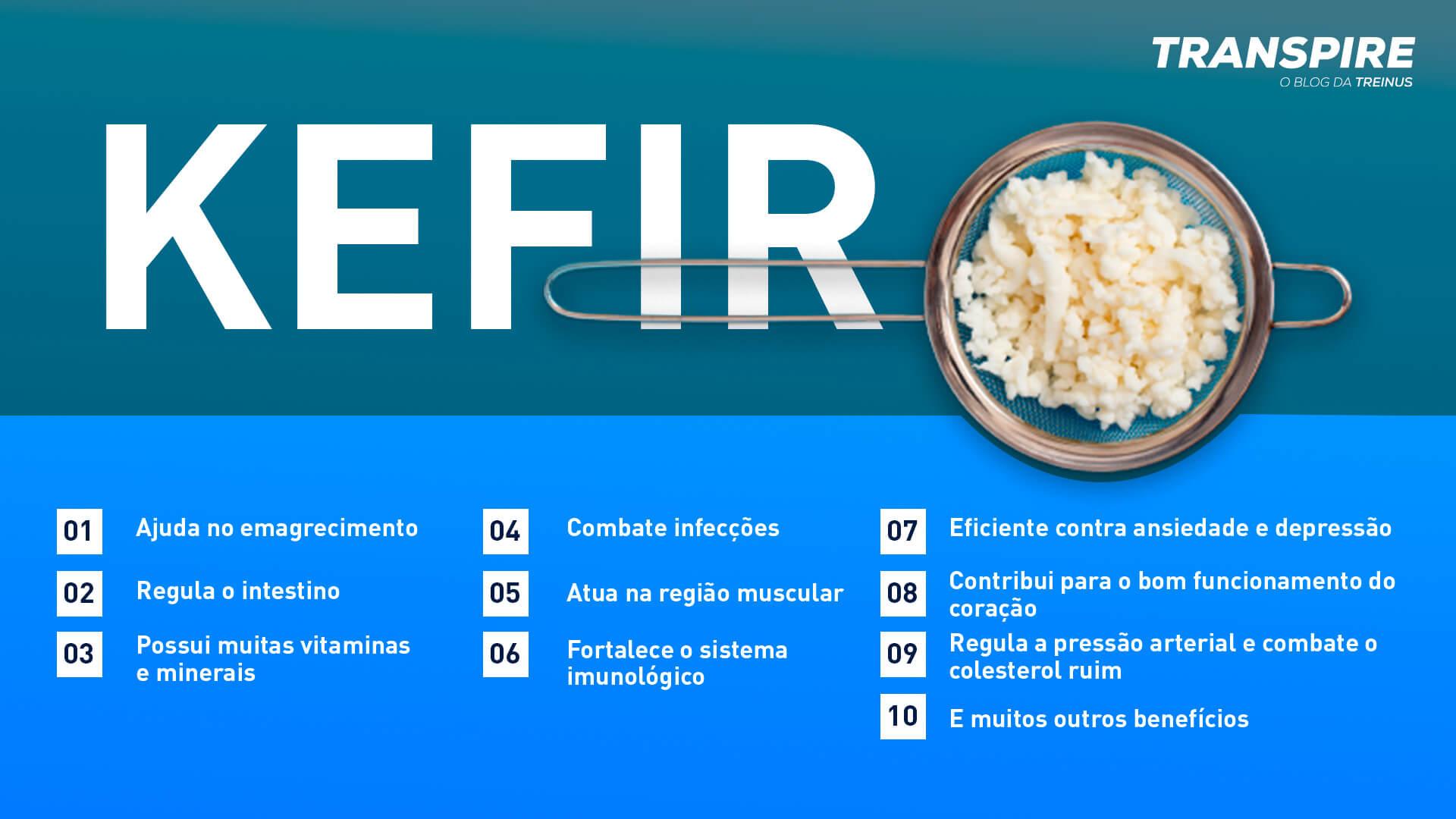 infográfico com 10 benefícios do kefir