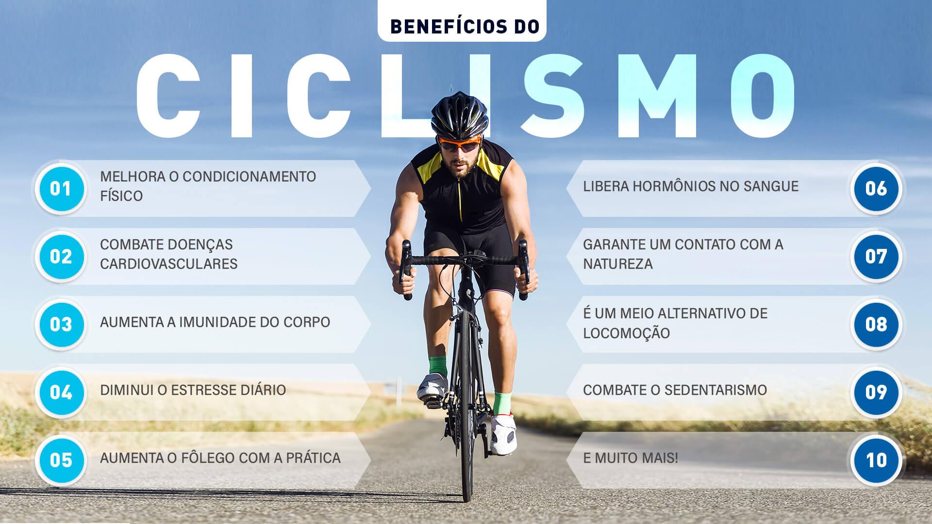 infográfico com os benefícios do ciclismo
